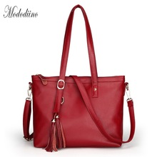Mododiino Tassel Women Handbags Tote Shoulder Bags Soft PU Leather Women Bag Over Shoulder Handbags Luxury Designer 2019 DNV1112 cheap (30x25x14) cm black red Zipper 0 47kg Luxury handbags women bags designer women s shoulder bag Women Messenger Bags Crossbody Bags for Women