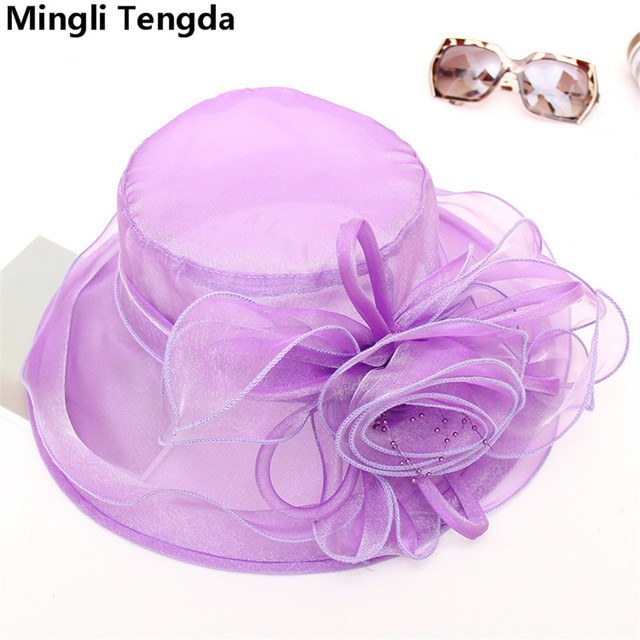 08020cfd 2018 New Elegant Bridal Hats Wedding Hats with Flower Pink/Purple/Rose  Wedding Bride