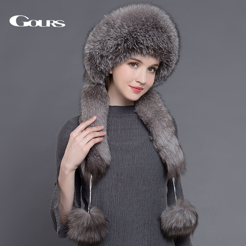 Gours Natural Fox Fur Hats for Women Real Rex Rabbit Fur Beanies Russian Winter Thick Warm Ears Fashion Bomer Caps New Arrival contrast design drop earrings