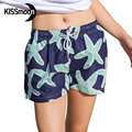 KISSyuer Quick-drying Navy blue green starfish sea stars Womens shorts shorts Couples Women board shorts KBS1012