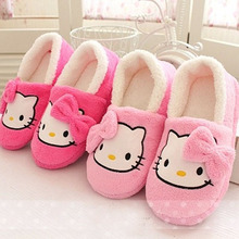 IVI Women House Slippers Hello Kitty Plush Warm Home Slippers Thermal Indoor Slipper for Autumn Winter Soft Sole Shoes