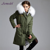 2017 Winter Women Furs Jacket Long Hair Real Fox Fur Jacket Long Coat Big Raccoon Hood
