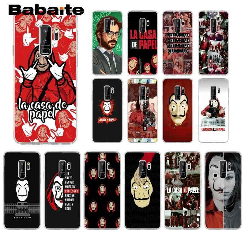 Babaite espanha tv la casa de papel tpu transparente caixa do telefone para samsung s6edge s6 edge plus s7 borda s8 s9 capa móvel