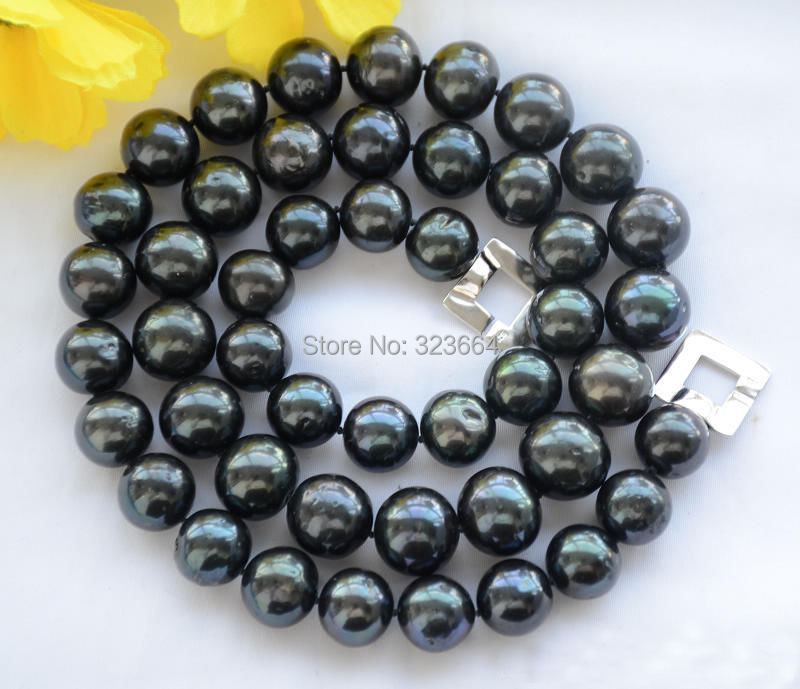 15mm ROUND Tahitian black Freshwater cultured PEARL NECKLACE 17inch цены онлайн