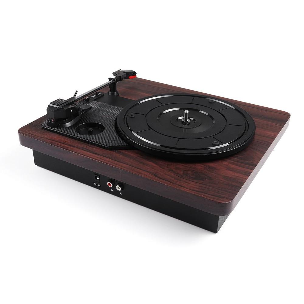Retro Record Player 33RPM Antique Gramophone Turntable Disc Vinyl Audio RCA R/L 3.5mm USB DC 5V Gramophones