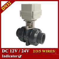 1 1 4 DC24V Plastic Electric Control Valve 5 Wires Control CR501 PVC Ball Valve DN25