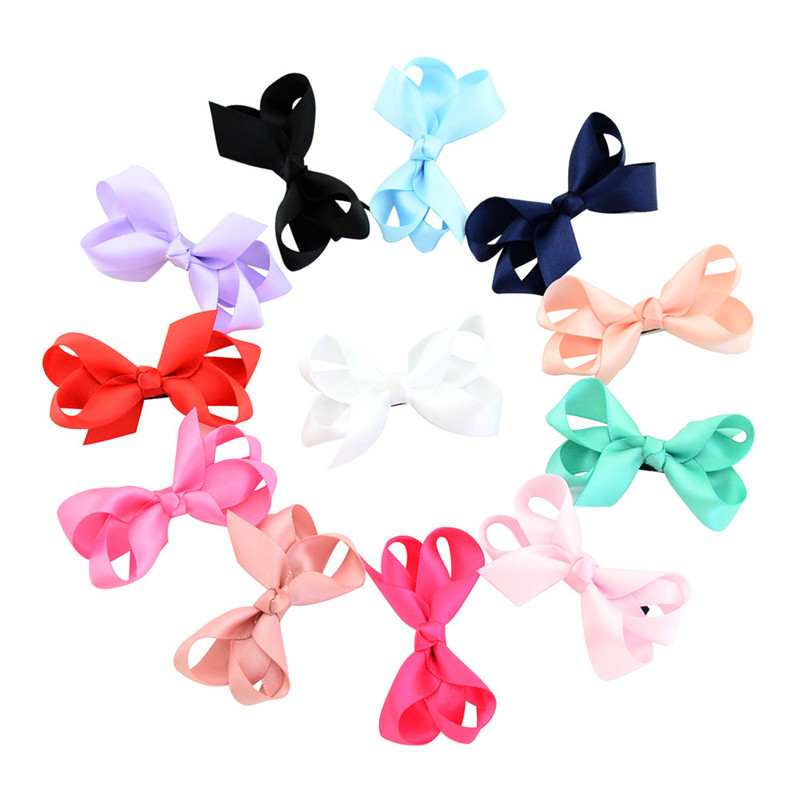 MIXIU 12pcs/set  Fashion Girls Kids Candy Color Hair Bows Hair Accessories Hair Clip Boutique Hairpin Grosgrain Ribbon Headwear
