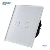 2gang 1way White Crystal Toughened Glass Panel Touch Light Switch Sensor Wall Switch EU UK Standard
