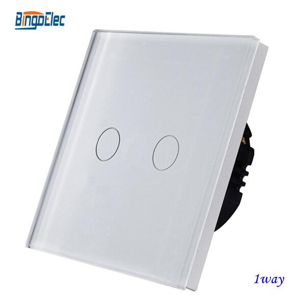 EU/UK standard AC110-250V white glass panel 2gang 1way touch sensor light switch suck uk