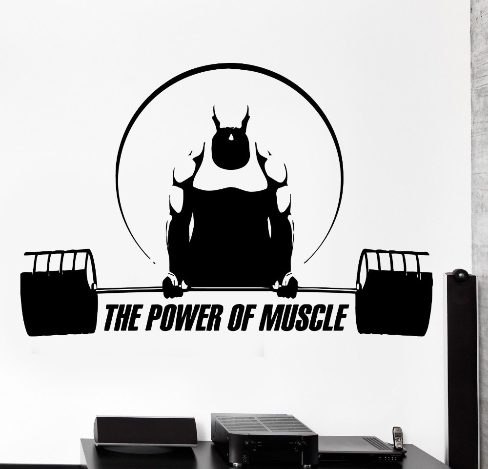 Fitness Sport Vinyl Wall Decal Gym Sport CrossFit Bodybuilding Art Mural Wall Sticker FitnessCentre Decor Wall