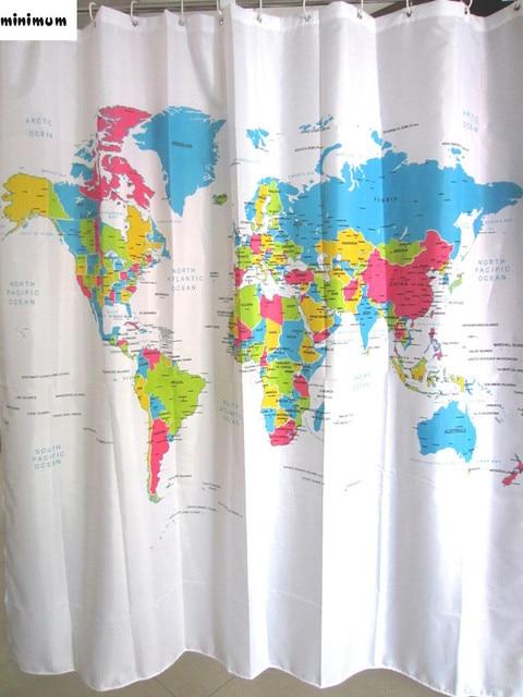 European Polyester Shower Curtain World Map Bathroom Curtains