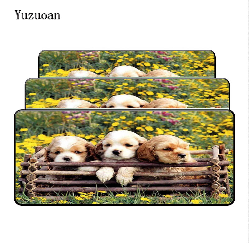 100% Quality Yuzuoan Three Dogs With Flower Lock Edge Large Animal Pad To Mouse Computer Desk Mouse Pad Boy Gift Gaming Mice Mats For Gamer