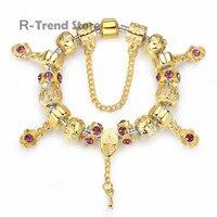 Flower Plant Charm Bracelet Women Bracelets Bangles For Female Diy Jewellery PA1427
