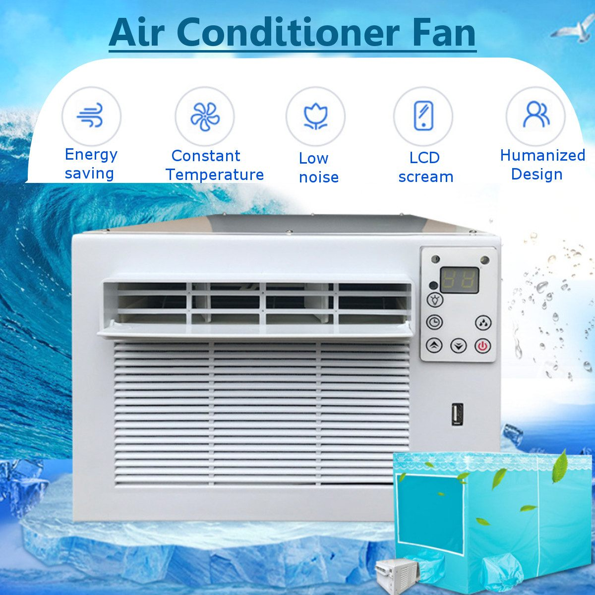 1100W Desktop Air Conditioner Cold Heat Dual Use 220V/AC 24-hour Timer With Remote Control LED Control Panel Air Conditioner
