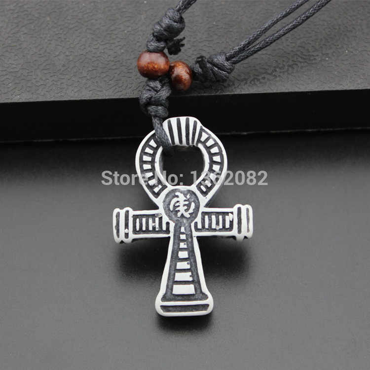 Fashion Imitation Bone Carving Ancient Egypt Symbol Ankh Amulet Pendants Necklace Gift MN348