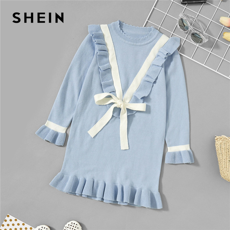 SHEIN Toddler Girls Blue Knot Ruffle Hem Casual Sweater Dress Kids Clothes 2019 Spring Korean Long Sleeve Cute Girls Mini Dress plus size bell sleeve mini lace dress with flounce hem