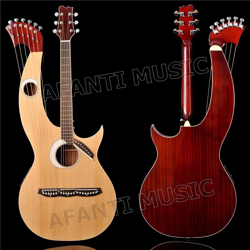 Table en épicéa/Sapele Dos et Éclisses/Touche Palissandre et Écrou Afanti Harpe guitare (AHP-1002)