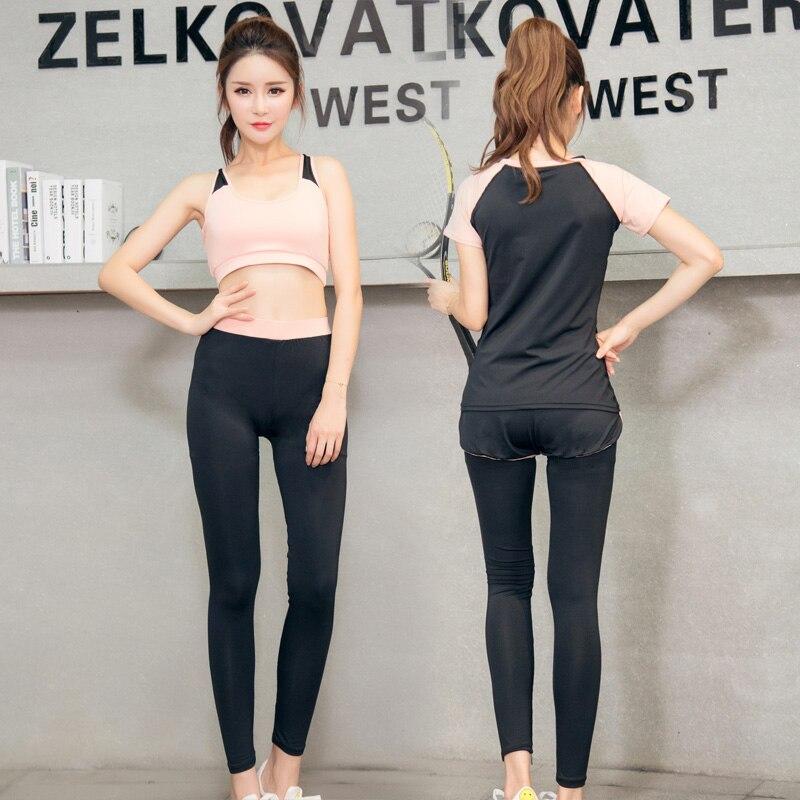 Conjunto de Yoga mujer Fitness correr ejercicio transpirable Rosa Sujetador deportivo + medias + corto + camisa + chaleco + chaqueta traje deportivo de talla grande de 6 piezas - 4