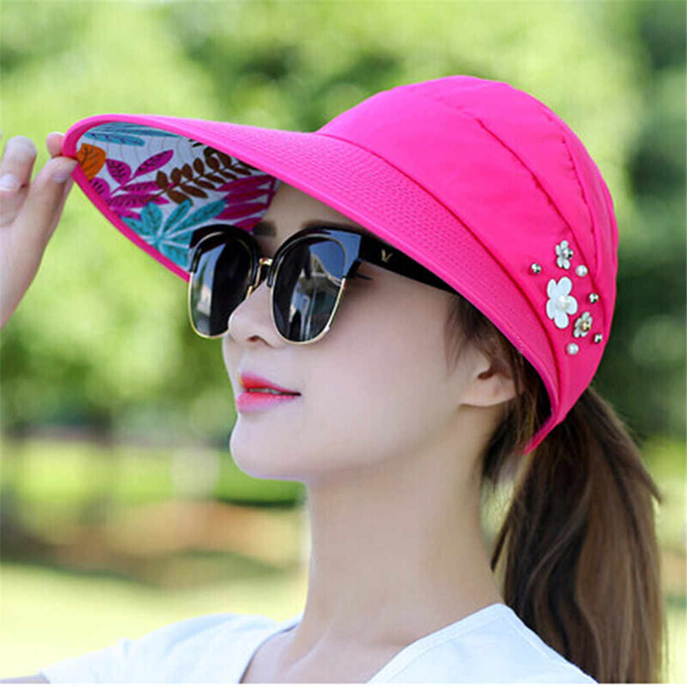 2019 Topi Musim Panas Wanita Pantai Sun Topi Mutiara Packable Sun Visor Topi dengan Besar Kepala Topi UV Perlindungan Wanita cap