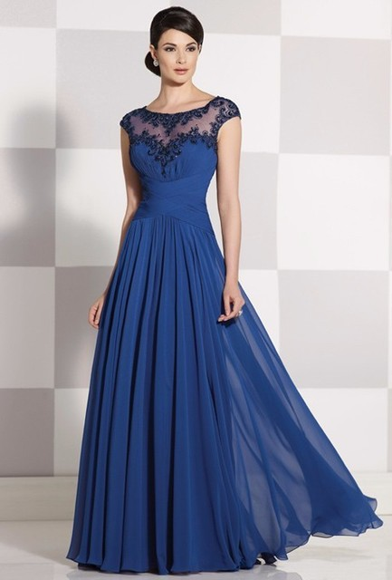 Chiffon Blue Dress Mother Bride A Line Beads Illusion Neckline Ced Sleeves Long Of
