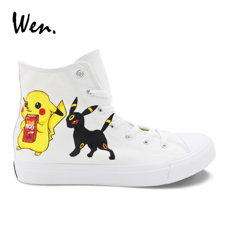 Wen Anime Hand Painted Shoes Design Pokemon Pikachu Umbreon Eevee High Top Male Skateboard Sneakers Female Canvas Light Shoes