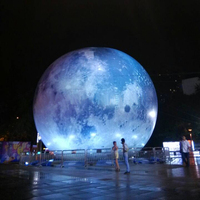 4M Tall giant inflatable moon ball with LED light inflatable planet balloon for advertising outdoor props