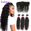 8A Deep Wave Brazilian Hair Lace Frontal Closure With Bundles Brazilian Deep Wave With Closure Frontal Bundles With Closure 13*4
