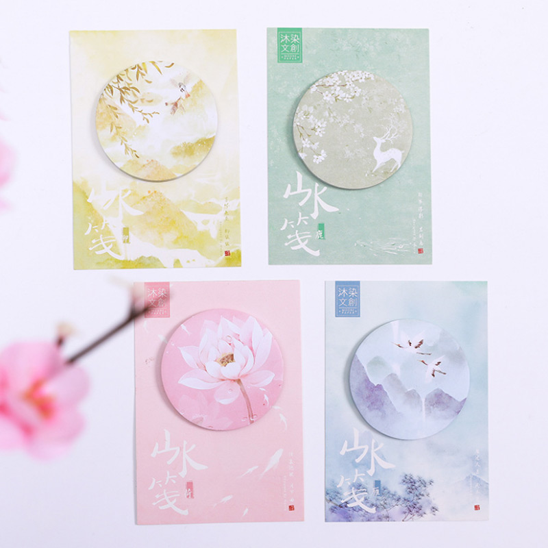 4pc/lot Beautiful scener memo pad paper post notes sticky notes notepad kawaii stationery papeleria school supplies kids gift