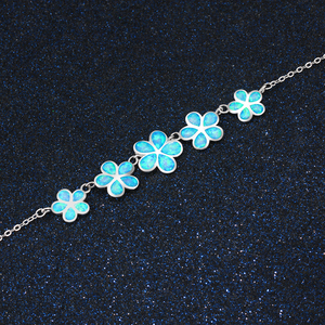Image 2 - Pretty Synthetic Blue Fire Opal Flower Shaped Sterling 925 Silver Necklace