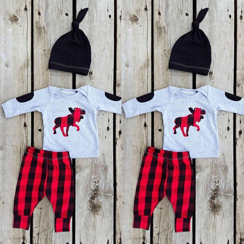 c5c1f1ad6263 Newborn Baby Girl Boy Clothes Deer Tops T-shirt+ Red Pants Leggings ...