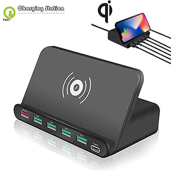 Universal <font><b>60W</b></font> Qi Wireless <font><b>Charger</b></font> For iPhone ipad Samsung Android Phone Tablet 7 in 1 Quick 3.0 Fast Charge Holder image
