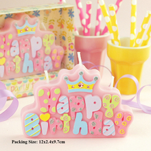pink blue candle cake decorations birthday party supplies children kids baby boy girl creative happy