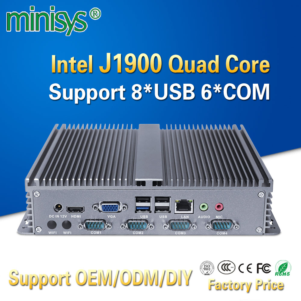 Minisys Cheapest Embedded Linux Mini PC Intel J1900 Quad Core X86 Single Lan Board Computer 8 USB Support SIM Slot DDR3L Ram image
