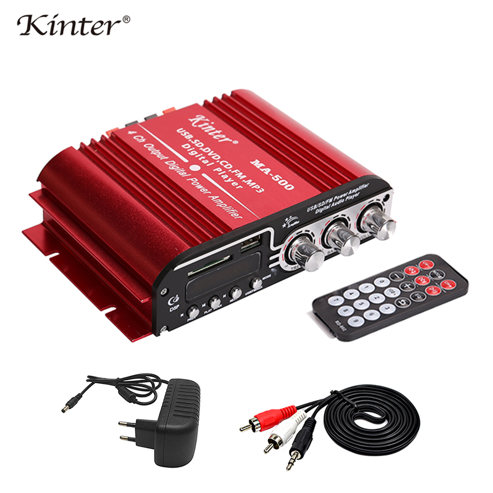 Kinter MA-500 Hi-fi amplifier 4CH 30W DC12V class AB 3A adapter RAC cable aluminum casing USB SD FM MP3 player stereo sound hi fi предусилитель takstar ma 1c 48v 3d