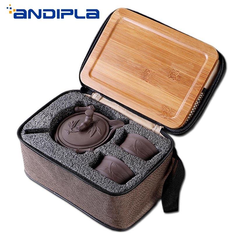 Yixing Zisha Teapot Teacup Outdoor Camp Portable Quick Cup Ceramics Kung Fu Tea Set with Bamboo Tray Travel Teaware Storage Bags