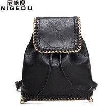Nigedu женщины рюкзак маленький подросток девочки школьные сумки женские цепи сумки на ремне студентов колледжа Mochila женские рюкзаки