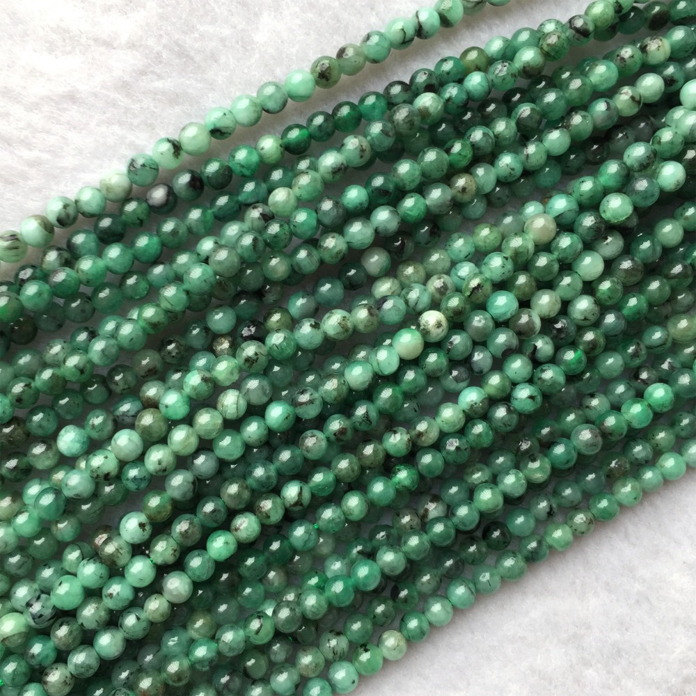 Genuine Natural Columbia Emerald Green Semi-precious stones Round Small Beads 15 05968Genuine Natural Columbia Emerald Green Semi-precious stones Round Small Beads 15 05968