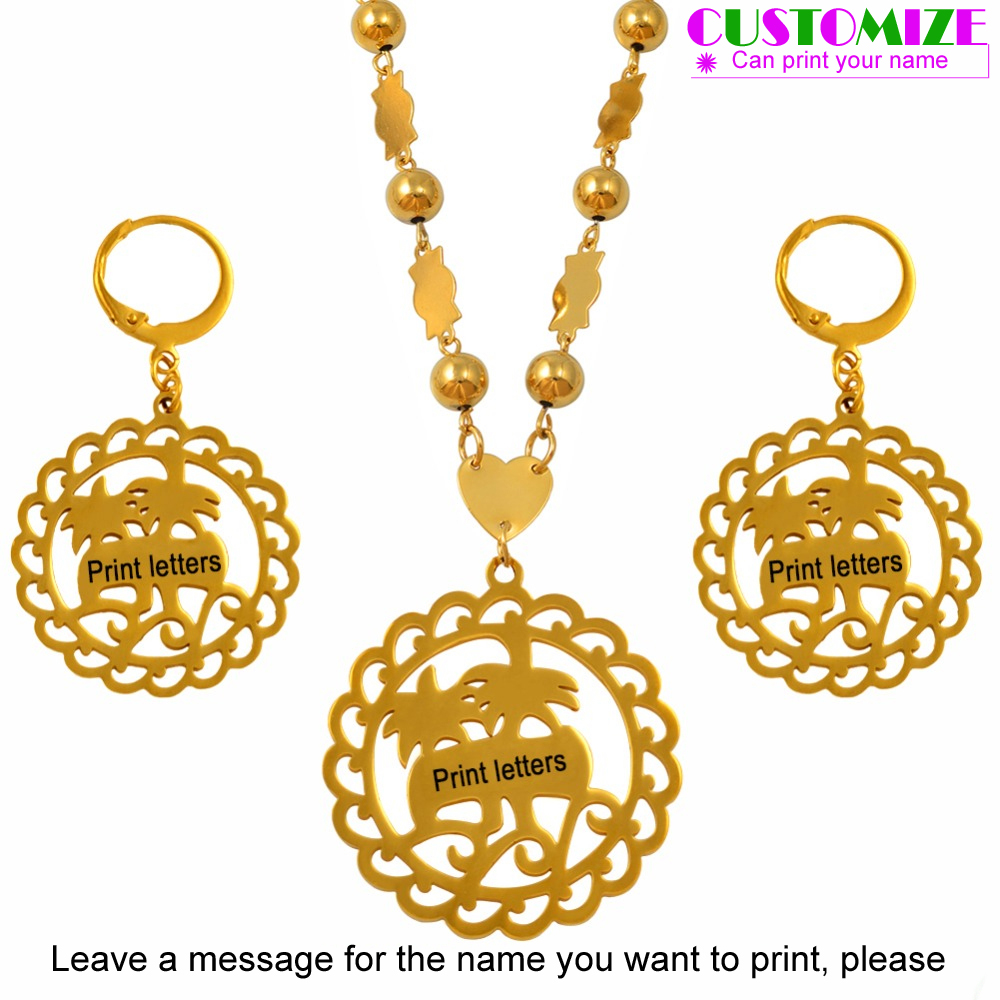 Anniyo Customize Print Letters Pendant Necklaces Earrings sets for Women Gold Color Personalized Name Marshall Jewelry #057321SAnniyo Customize Print Letters Pendant Necklaces Earrings sets for Women Gold Color Personalized Name Marshall Jewelry #057321S