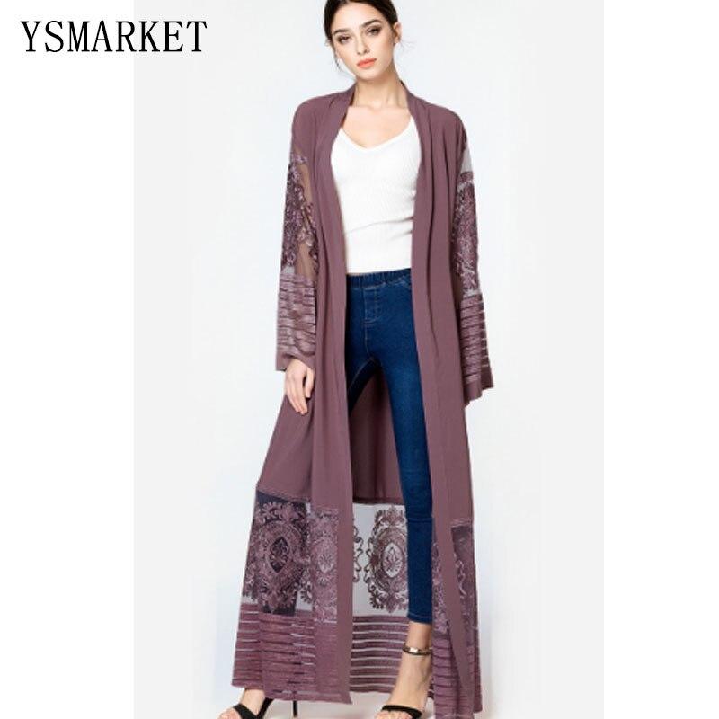 Maxi Vintage robes élégant automne tenue décontracté femmes vêtements musulmans brodé maille caftan dubaï robe à manches longues A1546