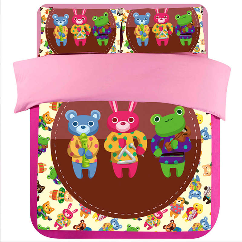 music musical note bear rabbit frog kids teen quilted cover bed comforter bedding duvet linen set queen king twin full siae