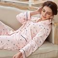 Boa Qualidade 2016 Algodão Conjuntos De Pijama De Verão das Mulheres do Outono Tops de Manga Longa E Calça de Corpo Inteiro do Sexo Feminino Pijamas Das Senhoras Pijamas