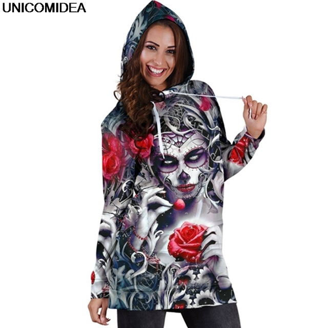 Skull Long Sleeve Bodycon Women Mini Dress Rose Floral Hoodies Sweatshirt Dress Autumn Femme Hooded Vestidos de festa Jurken 3XL