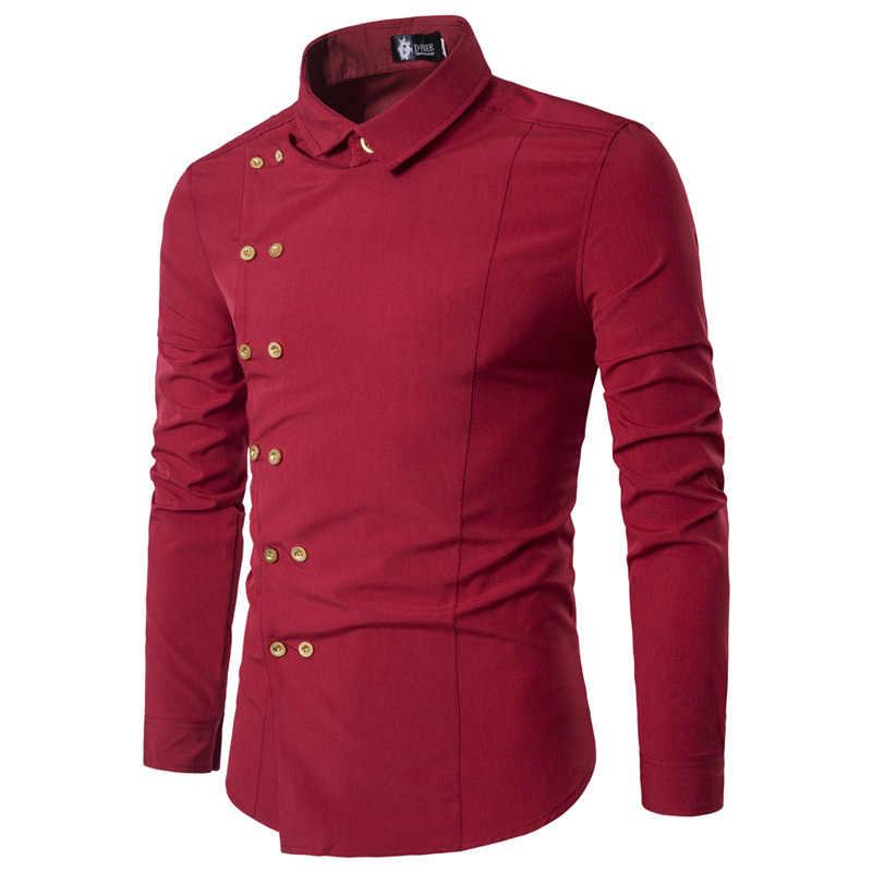 Printemps chemises hommes personnalité bouton Oblique irrégulière Double boutonnage hommes à manches longues Camisa Masculina mâle Slim Fit chemise