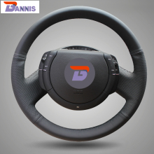 BANNIS Black Artificial Leather DIY Hand-stitched Steering Wheel Cover for Citroen Triumph Old C4 C-quatre