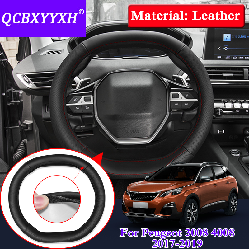 QCBXYYXH For Peugeot 3008 4008 5008 2017-2019 Car Styling Steering Wheels Cover Leather Internal Accessory Steering Wheel Cover
