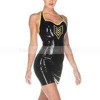 Женский сексуальный Холтер платье латекса с молния сзади на талии S LD213