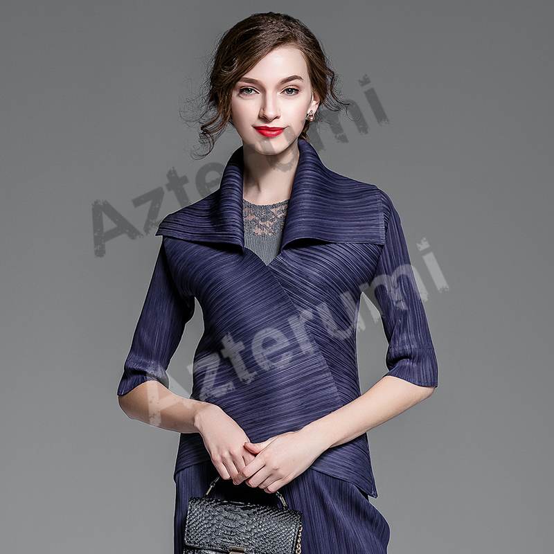 Special Pleats Spring New 2019 Fashion Half Sleeve Single Button   Trench   Coat Women Turn-Down Collar Pleated Short Outwear Tops