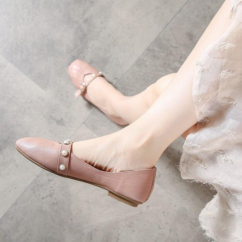 Chaussures rose Automne Femmes Cuir Espadrilles Perle Appartements En Beige Célèbre Confortable noir Ceinture Mocassins Femme Marque Brève Nouvelle TUx6Ap
