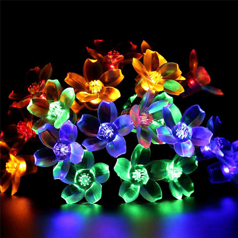 5M 50LED Peach Flower Solar Powered Lighting Lamps Outdoor Party Garden  Decor Aug15 Professional Factory Price Drop Shipping