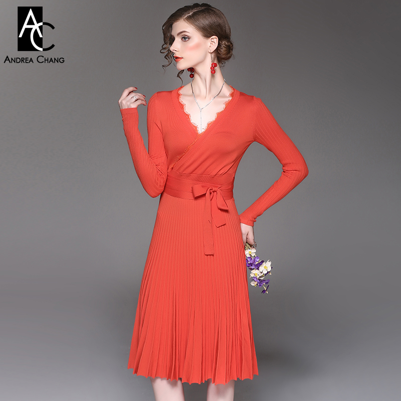 spring autumn woman dress lace collar v-neck full sleeve orange knitted dress long belt fashion sexy knee length pleated dress pocket full length tee dress page 11